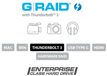G-RAID with Thunderbolt 3 Description